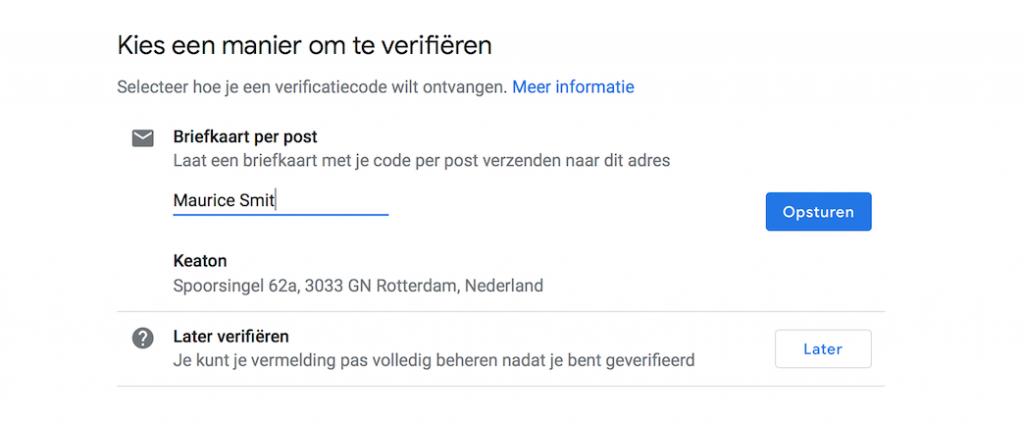 Google Mijn Bedrijf Contactpersoon