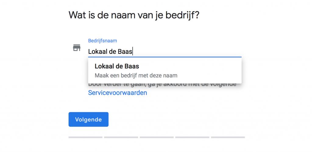 Naam bedrijf op Google Mijn Bedrijf