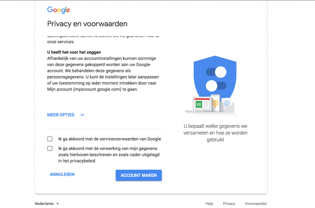 Privacy akkoord google account