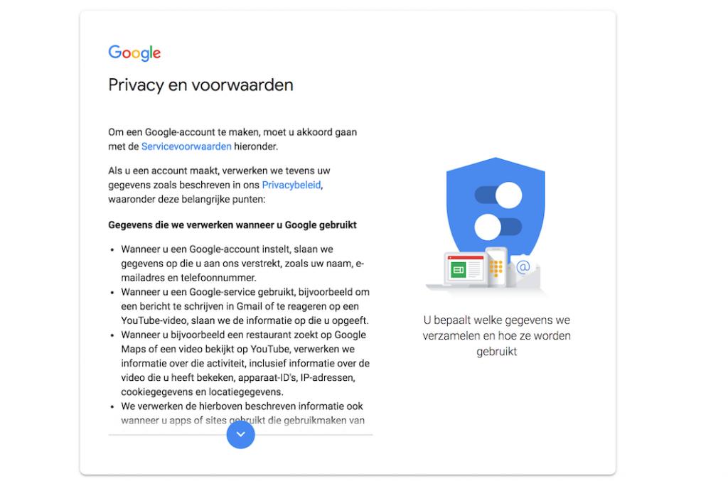 Privacy voorwaarden Google