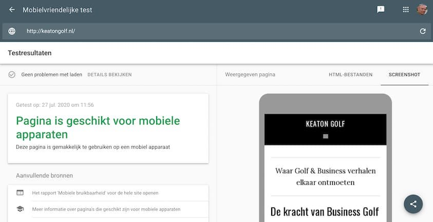 Mobiel vriendelijk website test