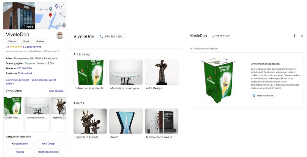 Producten en diensten in Google Mijn Bedrijf