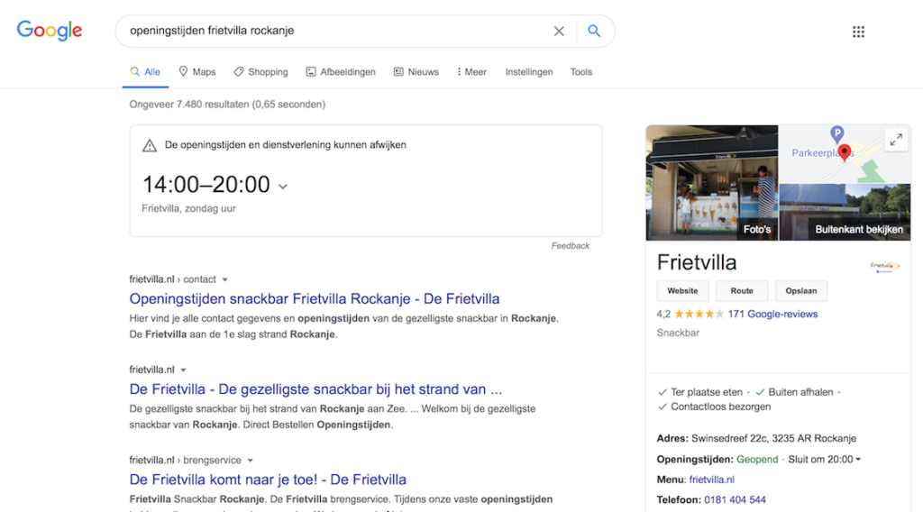 Google als nieuwe homepage - openingstijden