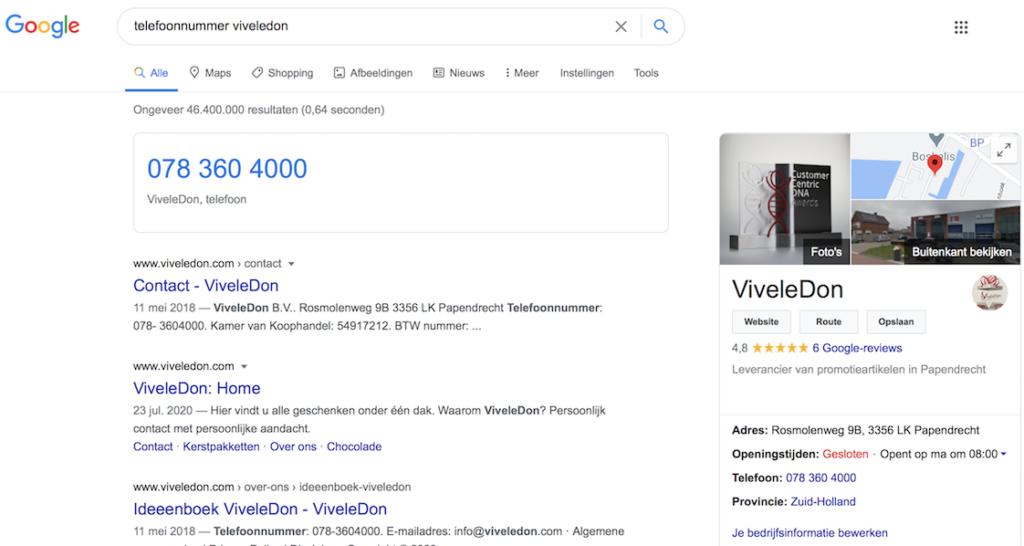 Google als nieuwe homepage voor telefoonnummer