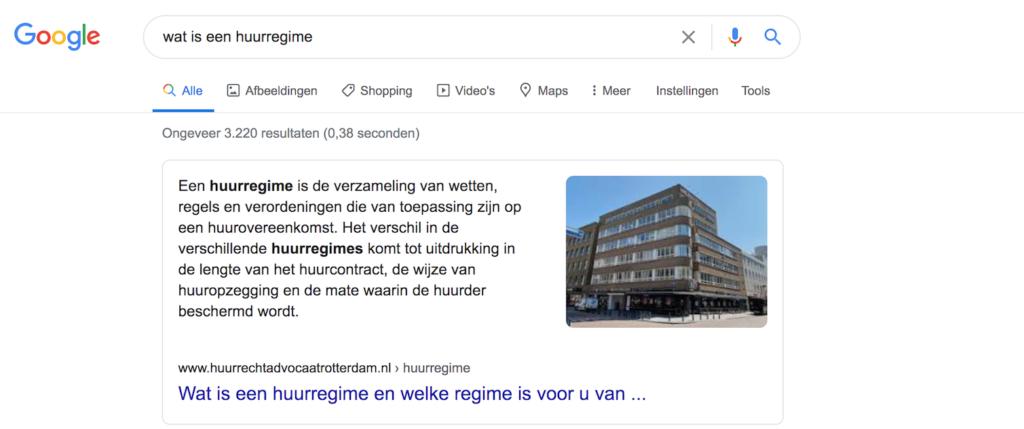 Google rich snippet huurregime